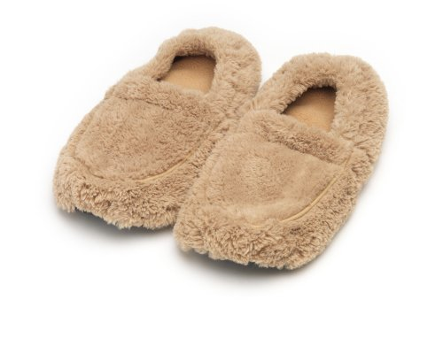 Furry Warmers Fully Microwavable Furry Slippers Beige -