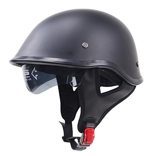 Almencla Unisex Motorradhelm Jethelm Helm Rollerhelm Matte Schwarz Halbschalenhelm Helmschale mit Halteband - XXL (Xxl-skull-cap)