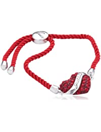 Guess Damen-Armband Metall Textil mit Herzanhänger UBB12117
