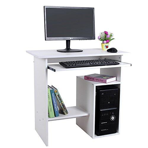songmics bureau informatique table informatique meuble de bureau pour ordinateur blanc lcd852w. Black Bedroom Furniture Sets. Home Design Ideas