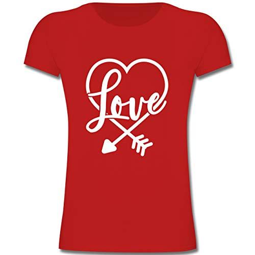 Kostüm Grüner Girl Pfeil - Anlässe Kinder - Herz mit Schrift - Valentinstag - 128 (7-8 Jahre) - Rot - F131K - Mädchen Kinder T-Shirt