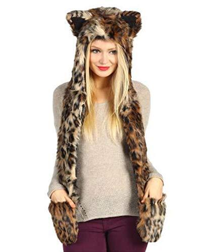 (DULEE Frauen und Mädchen Halloween mit Kapuze Leopard Faux Pelz Schal Kostüm Cosplay Kostüm, Stil 1)
