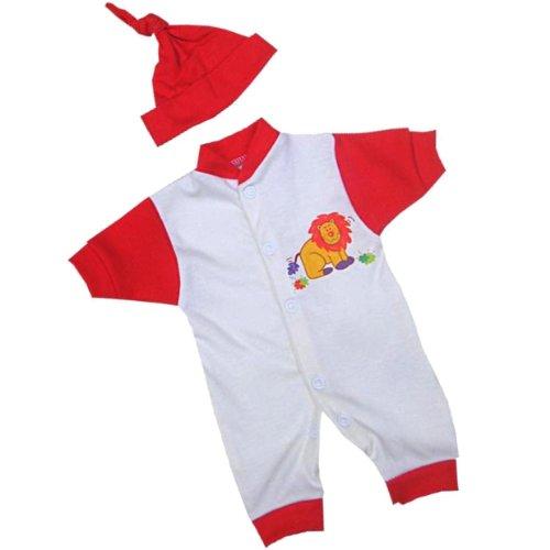 Vêtements de bébé prématuré début Barboteuse & chapeau ensemble 0.7,1.6,2.5kg bleu, rouge ou rose avec Mignon Motif lion Rouge Prem 3