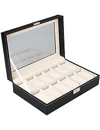MelodySusie® Présentoir/Boîte/Coffret à Montre Noir Coffret de Rangement pour Montres avec Serrure (12 Emplacements, Noir)