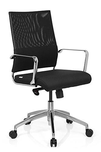 hjh OFFICE Bürostuhl/Drehstuhl LUCANO Stoff-Sitz, Netz-Rückenlehne, mit Armlehne, verchromtes Fusskreuz, Wippmechanik mit Arretierung, Chefsessel, (verchromte Armlehnenbügel, mittelhohe Rückenlehne)