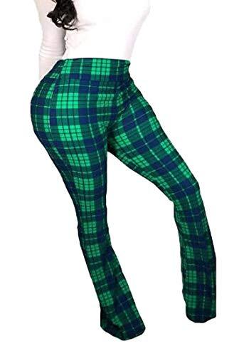 ShuangRun - Pantalón para Mujer (Talla XS), diseño de Cuadros, Color Verde Verde Verde L