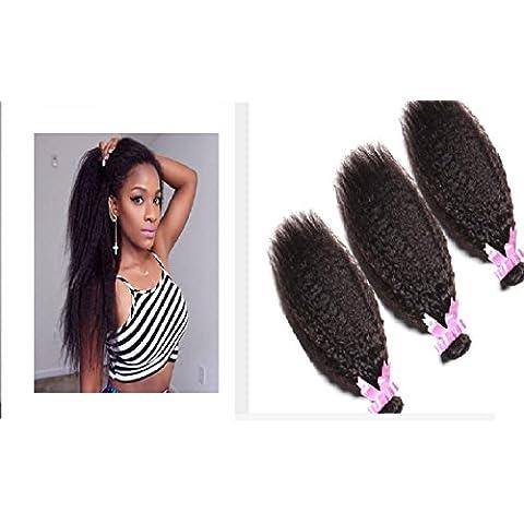 XQXHair 100% brasiliano non trattato 100% reale capelli umani del Virgin tessuto Bundles diritta crespa di estensioni dei capelli di colore naturale 3 pacchi molto 300g / , black - Calore Trattato Capo
