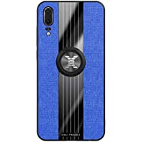 FHXD Compatible con Funda Huawei Y5 2019 Ultrafina Patrón de Textura de la Tela Caso+1*Protector de Pantalla Soporte de Anillo Giratorio de 360 ° Anti-Shock Cubierta-Azul