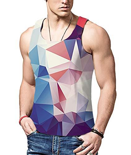 ALISISTER Herren Lustig 3D Geometrie Druck Tanks Top Ärmellos Muskel-Shirt Sommer Cut Off Tanktop Tshirt Für Sport Gym L -