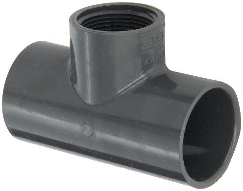 Spears PVC Rohrverschraubungen, reduziert Tee, Schedule 40, Grau, Sockel X NPT Buchse, 1-1/2