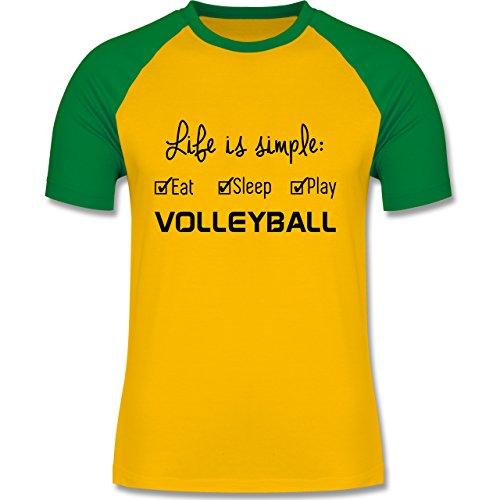 Volleyball - Life is simple Volleyball - zweifarbiges Baseballshirt für Männer Gelb/Grün