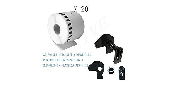 QL-570 QL-1050 QL-1060N CON TELAIO QL-550 QL-650TD . QL-580N QL-560 Lunghezza etichetta: 62mm , Altezza etichetta: 30480mm SUPPORTO 1 Rotolo Etichette adesive compatibile per Brother DK22205 DK-22205 30.48mt X 62mm QL-500