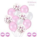 Juland 50 Stück 12 Zoll Luftballons Pink Konfetti Ballons Weiss Latexballons Luftballons Heliumballons für Hochzeit Geburstagsdeko Babyparty Junge Dekoration Geburtstagsfeier Hochzeit Party