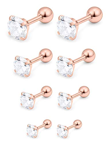 VFUN 4 Paare 16G Chirurgenstahl Damen Herren Stud Ohrringe Cartilage Ohr Piercings Helix Tragus Barbell Klare Runde CZ 3-6mm - Rose Gold