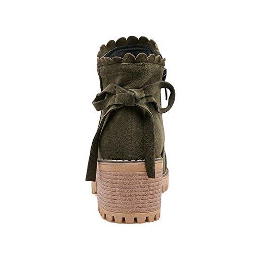 AgooLar Femme à Talon Correct Coton Couleur Unie Zip Rond Bottes Vert Militaire