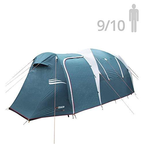 NTK Arizona GT Sport Campingzelt für 9-10 Personen (2 Räume), 530 x 245 x 205 cm, 100% Wasserdicht - Grünblau -
