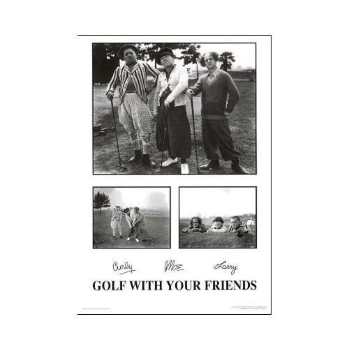 Buyartforless Poster, Motiv Golf with Your Friends - The Three Stooges, 36 x 61 cm, klassisches Comedy-Humor, lustiges Film, Schwarz und Weiß