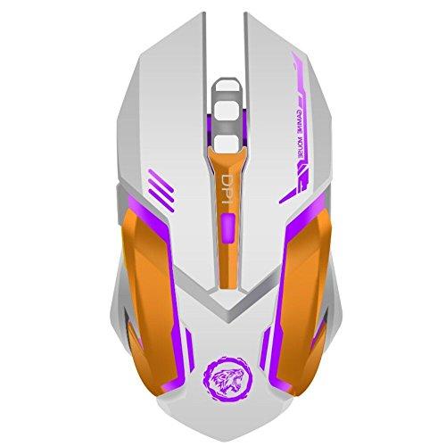 extrafind X96 Wiederaufladbare Kabellose Gaming Maus Optische Hintergrundbeleuchtung Computer Maus Silent Click, 3 verstellbare DPI, 6 Tasten für Mac/PC/Notebook