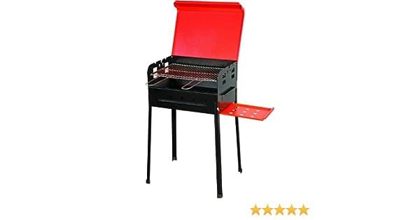 BARBECUE A CARBONE STELLA 518 coperchio piano appoggio laterale griglia cromata 35x50x80h cm