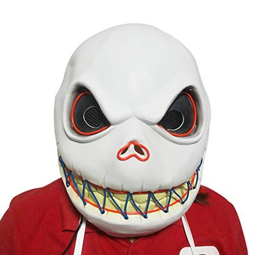 White Kostüm Jack - nihiug Halloween glühende Maske Christmas Night Cry, Jack Mask Headgear,White-OneSize