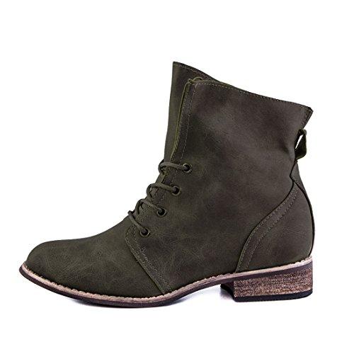 Stylische Ankle Worker Boots Schnür Stiefeletten Stiefel in hochwertiger Lederoptik Grün Glattlederoptik