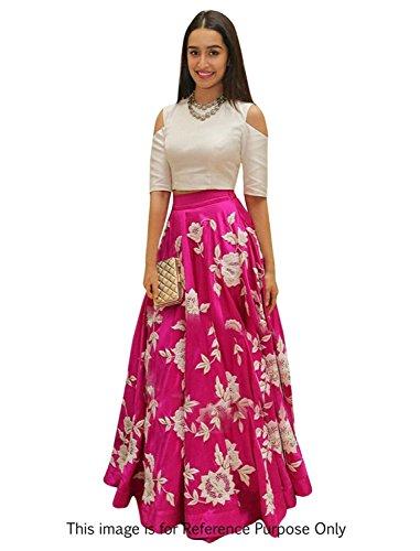 Market Magic World Woman\'s Banglori Silk Semi-stiched Lehenga Choli (MMW-04004_Free Size_Pink)