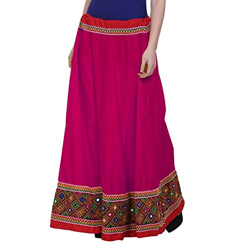 Vastraa Fusion Ethnic Long Skirt with Multi-colour Embroidered Matching Border - Pink