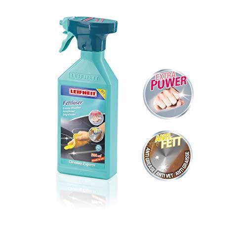 Leifheit Fettlöser Spray 500 ml für alle Küchenflächen, Küchenreiniger für eingetrocknetes & eingebranntes Fett, Entfetter zur Fein- und Grobdosierung