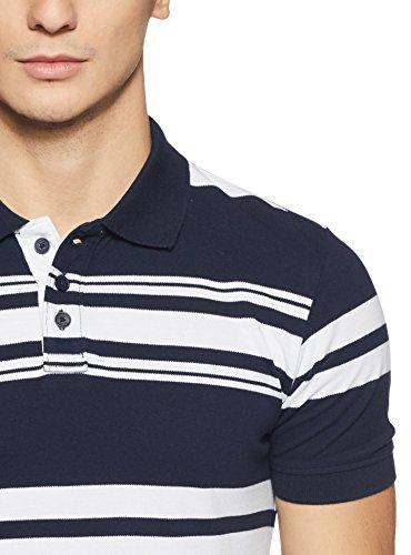 Hanes Men's Striped Regular Fit Polo (PH77-013-ST_Navy/White_X-Large)