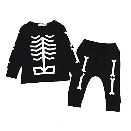 Boy Minion Kostüm - Riou Kinder Langarm Halloween Kostüm Top Set Baby Kleidung Set 2pcs Kleinkind Säuglingsbaby Boy Knochentops + Hosen Halloween Kleidung Outfits Set (90, Schwarz)