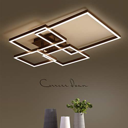 Deckenleuchte LED Dimmbar Schlafzimmer Deckenlampe Modern Design mit Fernbedienung Wohnzimmer Leuchte Weiss Acryl Lampeschirm Metall Platz Kronleuchter Flur Badezimmer Weiß Matt Eckig Decorlampe 65W