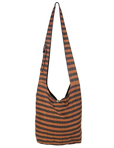 Vishes Gestreifte Umhängetasche Beuteltasche Grob Gewebte Baumwolle Innentasche Damen Herren Unisex braun-orange (Stoff-handtaschen Orange)