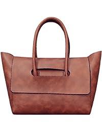 Zibuyu Fasion Women Retro Vintage PU Leather Shoulder Handbag (Brown)