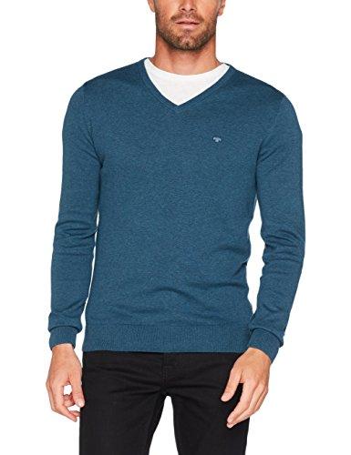 TOM TAILOR Herren Pullover Basic v-Neck Sweater, Blau (Hidden Blue Melange 6341), Large