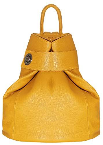bolso asas cruzadas en forma de mochila color amarillo