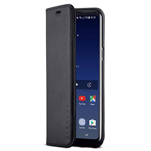 KANVASA Samsung Galaxy S8 Plus Lederhülle Leder Case Ledertasche schwarz Pro Echtleder Hülle Tasche Flip Cover für das Original Samsung Galaxy S8+ - Schlankes Design mit Magnetverschluss
