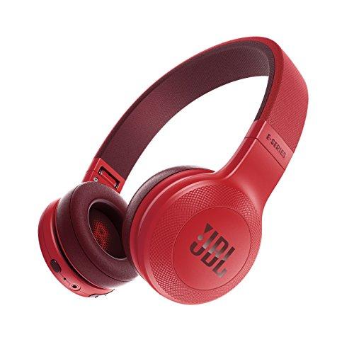 E45BT Circumaurali con Bluetooth, Ripiegabili con Microfono, Red/Rosso