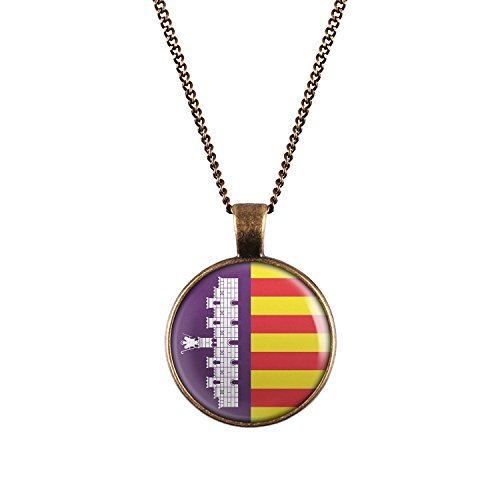 Mylery Hals-Kette mit Motiv Insel-Wappen Flagge Mallorca bronze 28mm (Bronze-insel Land)
