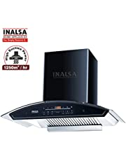 Inalsa 60 cm, 1250 m3/hr,Auto Clean,Kitchen Chimney Crescent 60BKSFAC with 11 Deg SS Baffle Filter, Touch Control and Digital Display,(Black)