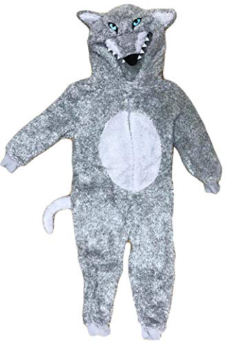 Wolf Kostüm Childs - TopsandDresses Childrens Boys or Girls Kids Onesie Sleepsuit All-in-One Wolf 12-13