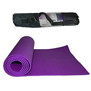 Yoga Mat + CARRY BAG - Exercise, Gym, Pilates, Padded 6mm Thick 9 Colours To Choose From By Macallen TM , Purple