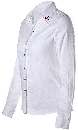 Dioufond® Modisch Damen Bluse Langarm Schlank Arbeithemd V-Ausschnitt mit Knöpfe Business Bluse Bügelfrei Weiß