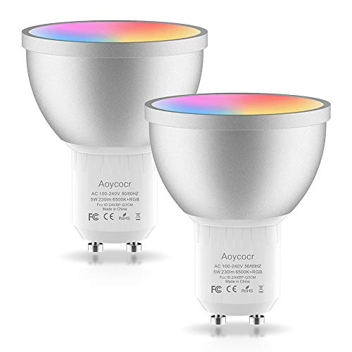 Smart WLAN LED Lampe GU10 Wifi Glühbirne, 50W, 6500 Kelvin, Reflektor, Doppelpack, Aoycocr Alexa Glühbirne Mehrfarbige GU10 Dimmbare, Intelligente Home lampen Kompatibel mit Alexa Google Home IFTTT