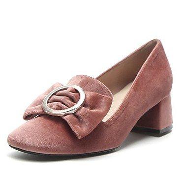 Wuyulunbi@ Scarpe donna pu primavera cadono Comfort tacchi Chunky tallone punta tonda per Casual NERO ROSA Rosa