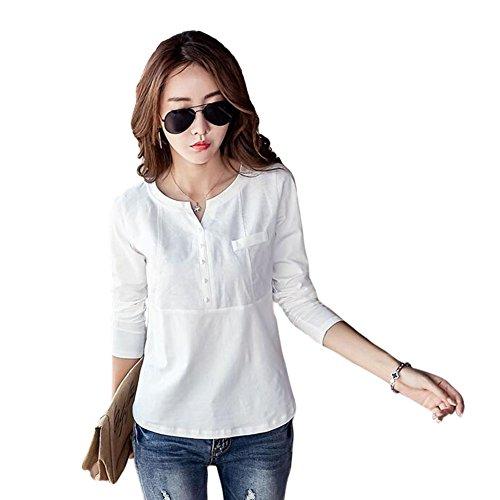 Zhuhaixmy V-Neck Lange Ärmel Baumwolle Leinen Beiläufig Bluse Damen Loose Tops T-shirt (Linen-blend Top T-shirt)