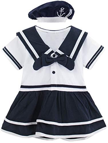 MOMBEBE COSLAND Baby Mädchen Matrose Body Kurz mit Hut (Navy, 0-6 ()