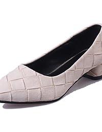 ZQ YYZ Zapatos de mujer-Tac¨®n Plano-Comfort / Puntiagudos-Planos-Exterior / Casual-Semicuero-Negro / Azul / Rosa / Blanco , black-us9 / eu40 / uk7 / cn41 , black-us9 / eu40 / uk7 / cn41