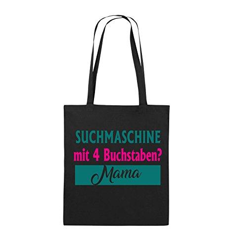 Comedy Bags - Suchmaschine mit 4 Buchstaben? Mama - Jutebeutel - lange Henkel - 38x42cm - Farbe: Schwarz / Weiss-Neongrün Schwarz / Pink-Türkis