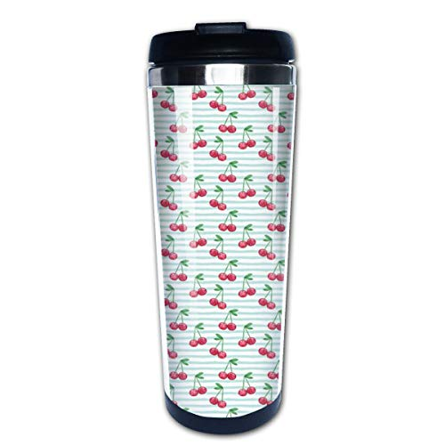 Watercolor Cherries On Blue Stripes Multi Insulated Stainless Steel Travel Mug 14 oz Classic Lowball Tumbler with Flip Lid Blue Barrel Mug