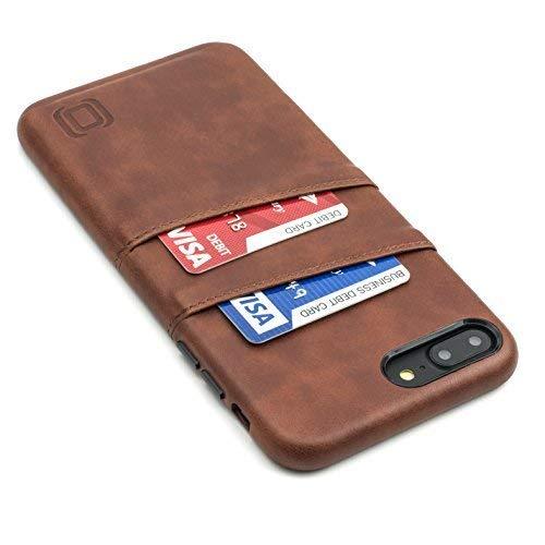Dockem Exec Handyhülle mit 2x Kartenfach für iPhone 8 Plus / 7 Plus - Schmale Vintage Wallet Handytasche aus Kunstleder - Hülle mit Einrastautomatik - Braun